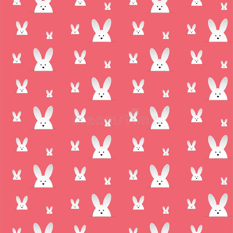 Coniglio felice Bunny Pink Seamless Background di Pasqua illustrazione di stock