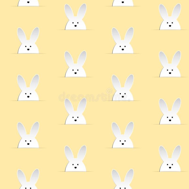 Coniglio felice Bunny Yellow Seamless di Pasqua illustrazione vettoriale