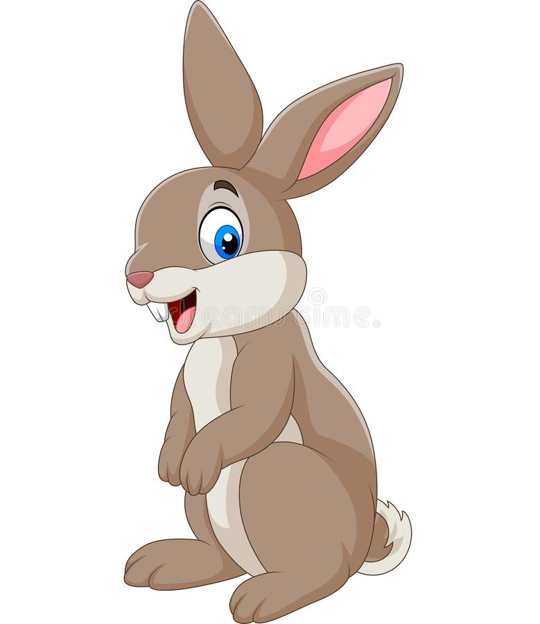 Coniglio felice del fumetto isolato su fondo bianco royalty illustrazione gratis