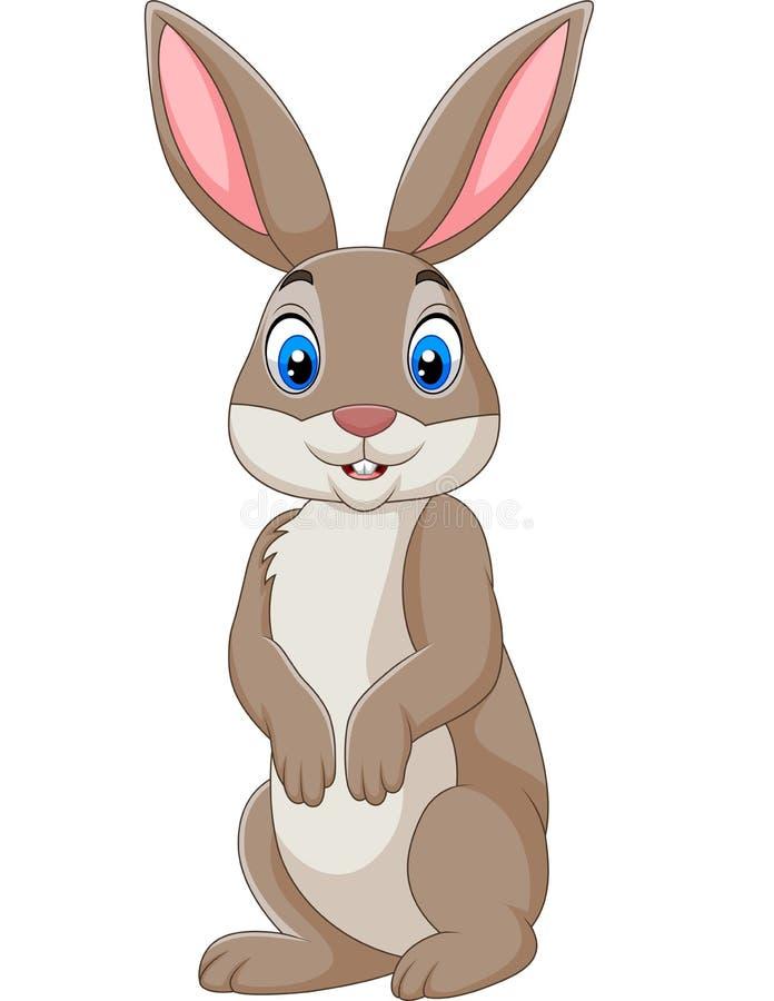 Coniglio felice del fumetto isolato su fondo bianco illustrazione di stock