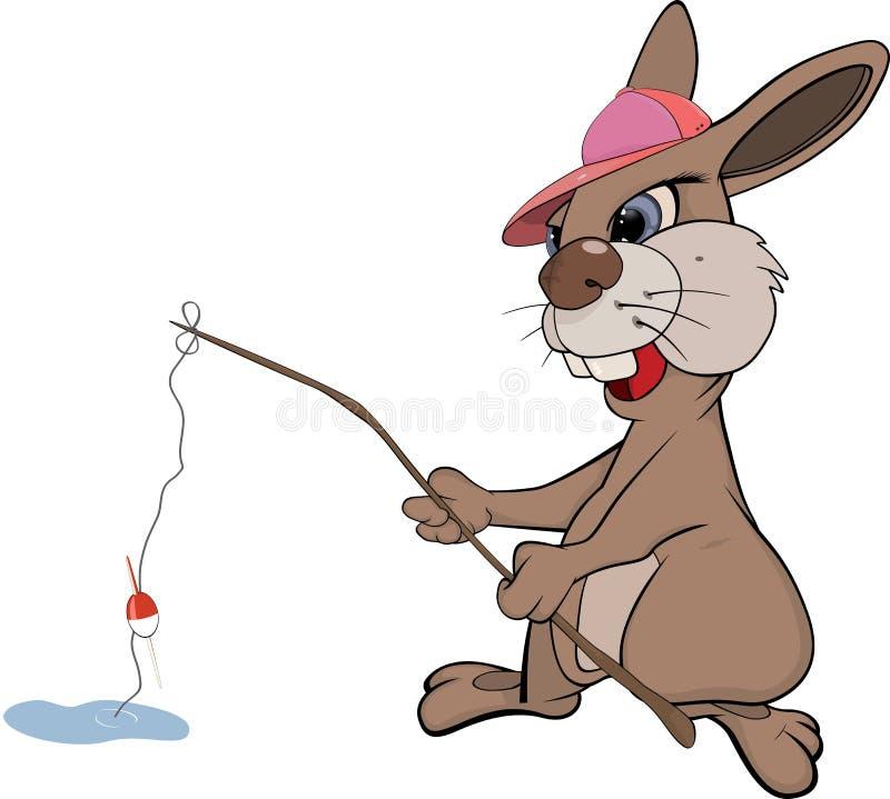 Coniglio il pescatore. Fumetto illustrazione vettoriale