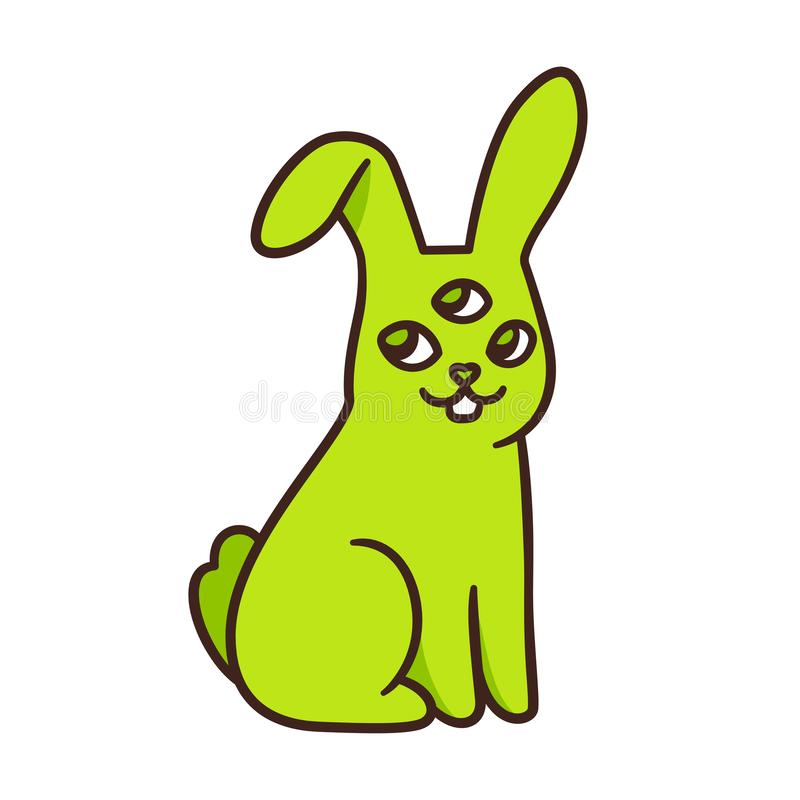Coniglio mutante straniero divertente illustrazione di stock