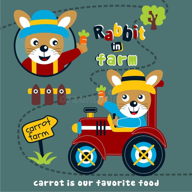 Coniglio nel fumetto animale divertente dell'azienda agricola, illustrazione di vettore illustrazione di stock