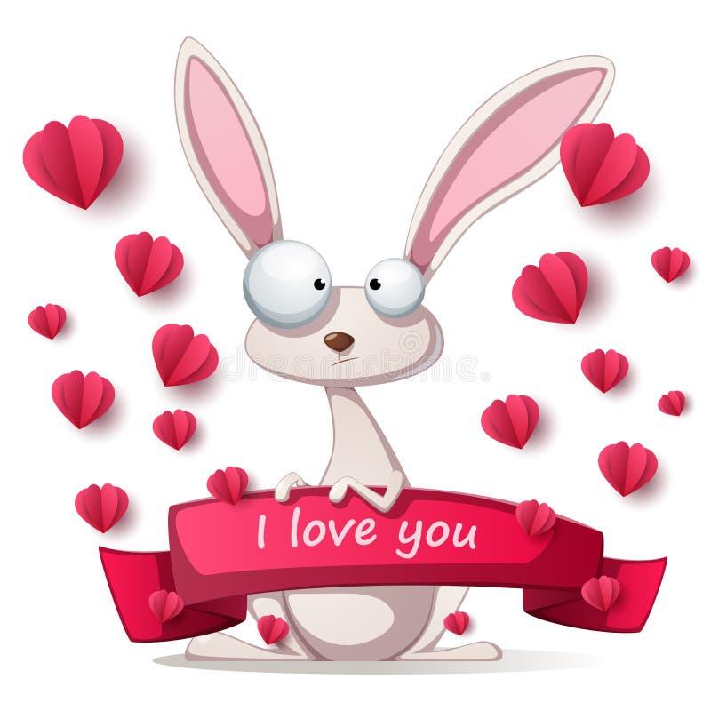 Coniglio pazzo - illustrazione di Valentine Day illustrazione vettoriale