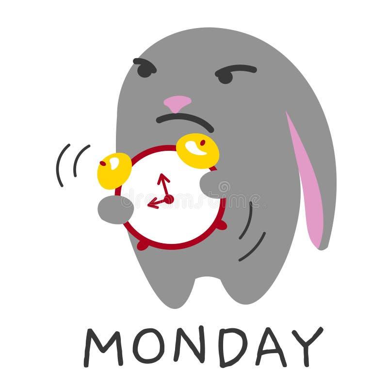 Coniglio rigoroso di lunedì di mattina con l'illustrazione di vettore della sveglia royalty illustrazione gratis