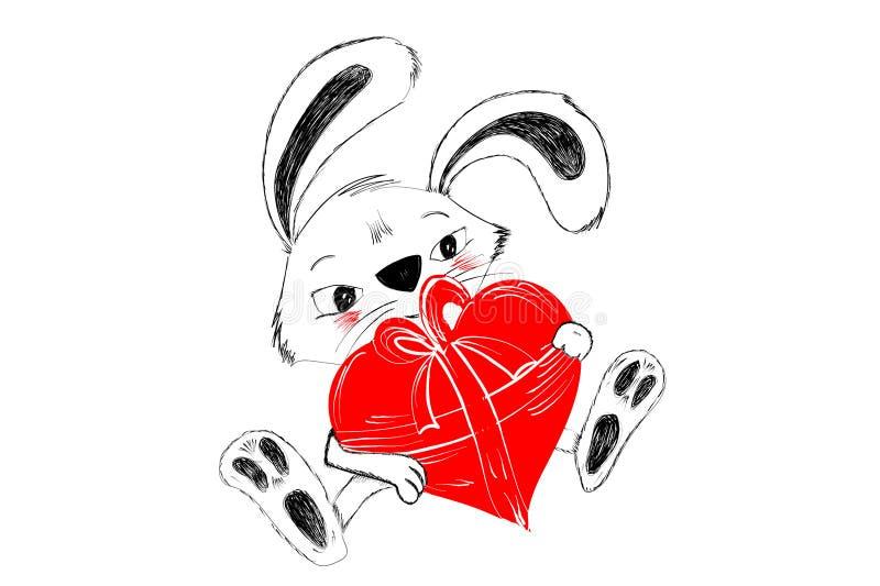 Coniglio sveglio con cuore rosso per il regalo disegnato a mano in bianco e nero per il saluto felice del biglietto di S. Valenti illustrazione vettoriale