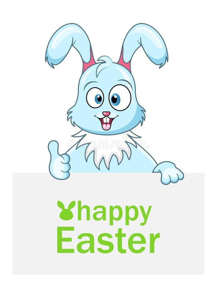 Coniglio sveglio con il foglio di carta per Pasqua felice illustrazione vettoriale