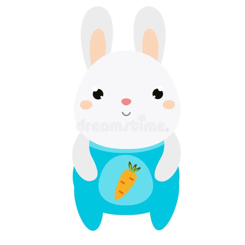 Coniglio sveglio Coniglietto in tuta Lepre bianca Carattere dell'animale di kawaii del fumetto Illustrazione di vettore per i bam royalty illustrazione gratis
