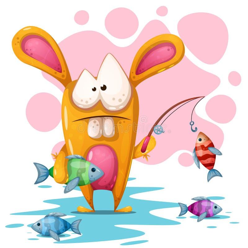 Coniglio sveglio e crezy con la strada di pesca illustrazione di stock