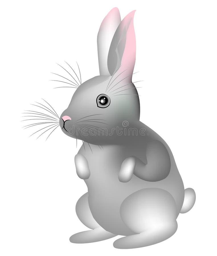 Coniglio sveglio grigio Il simbolo di Pasqua nella cultura di molti paesi Illustrazione di vettore royalty illustrazione gratis