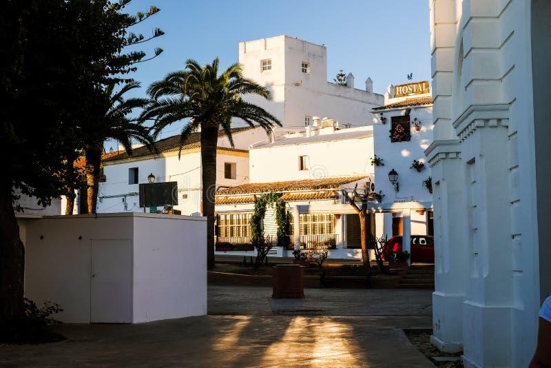 Square in Conil de la Frontera, white town in Costa de la Luz, Cadiz Province,. Conil de la Frontera, Spain - November 8, 2017: square in Conil de la Frontera stock image