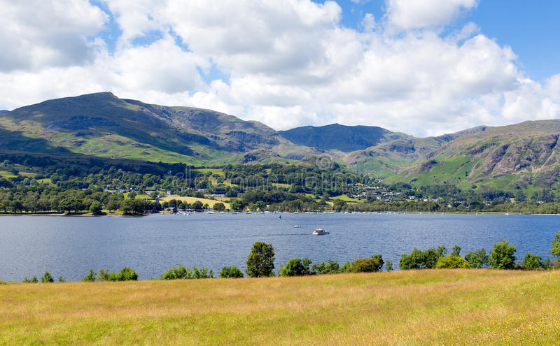 Coniston水和山湖区英国英国 库存照片