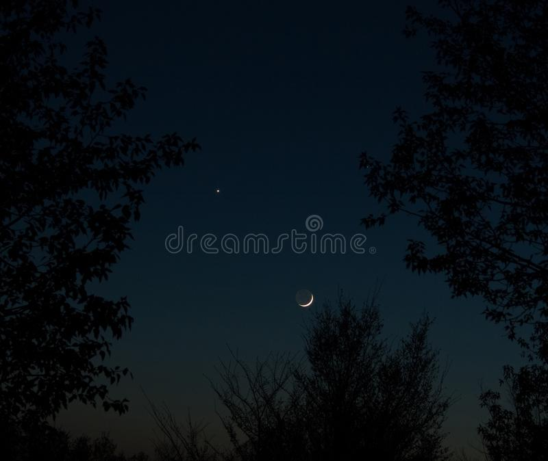 Conjunction Between Moon And Venus Stock Photo - Image of