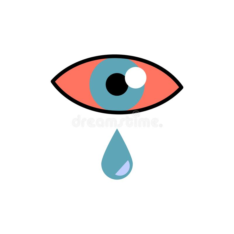 Conjunctivitis concept with red eye and lacrimation - symptom of swelling of conjunctiva or allergy. stock illustration