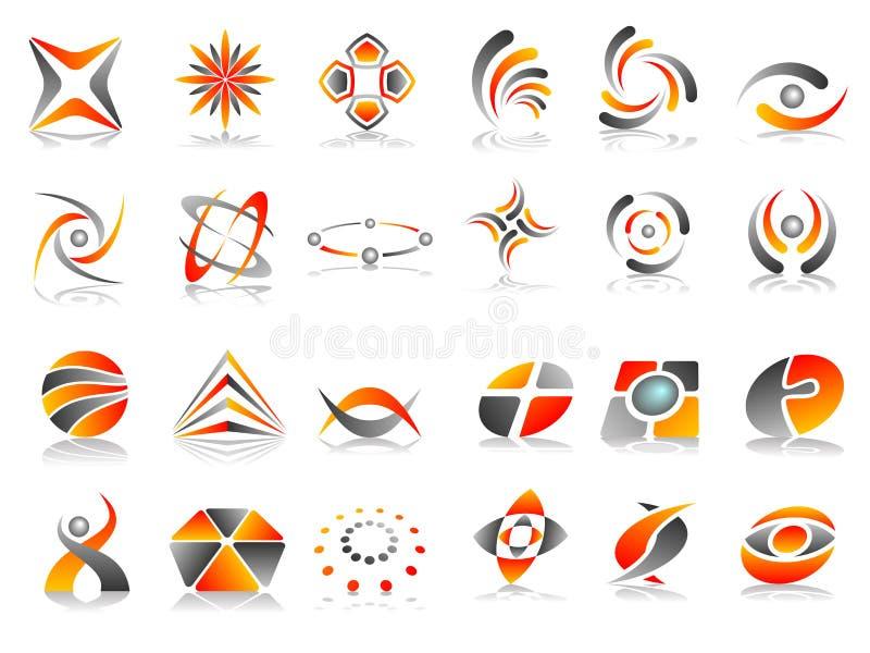 Conjunto abstracto del diseño del icono de la insignia stock de ilustración