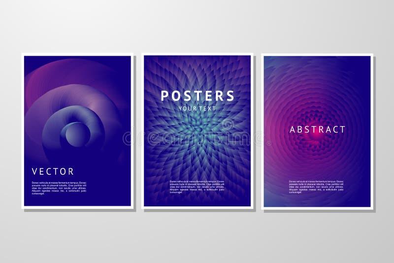 Conjunto abstracto del fondo del vector Plantilla geométrica de moda de los carteles Cubierta con pendiente vibrante stock de ilustración