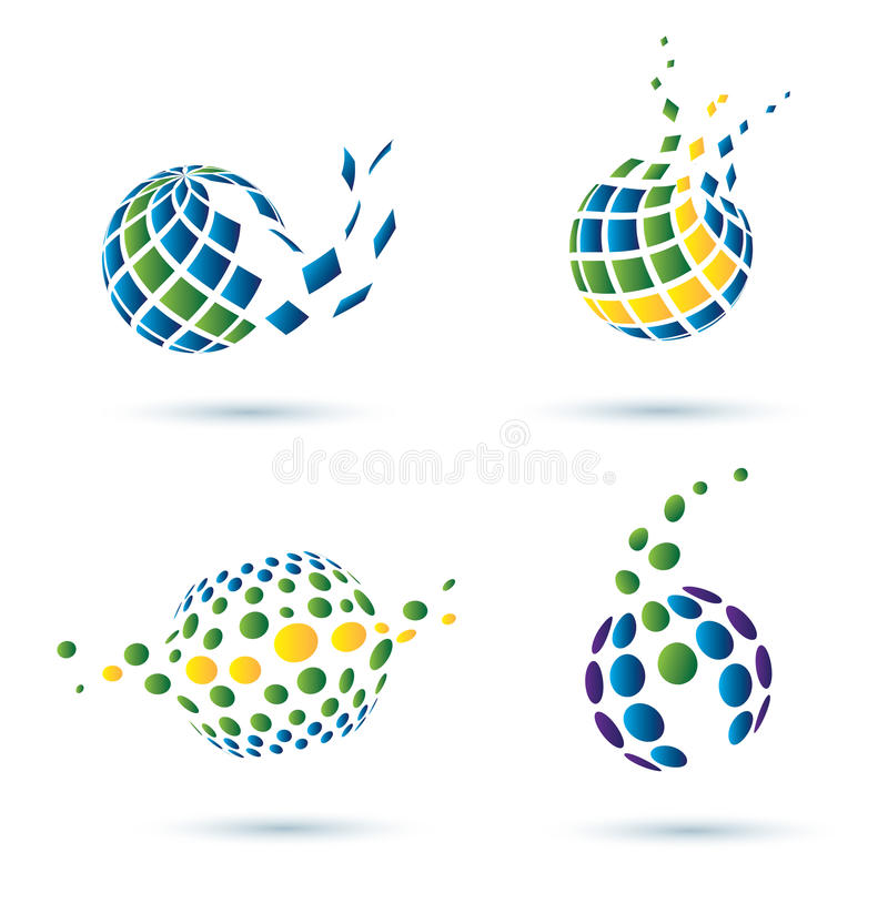 Conjunto abstracto del globo de iconos libre illustration