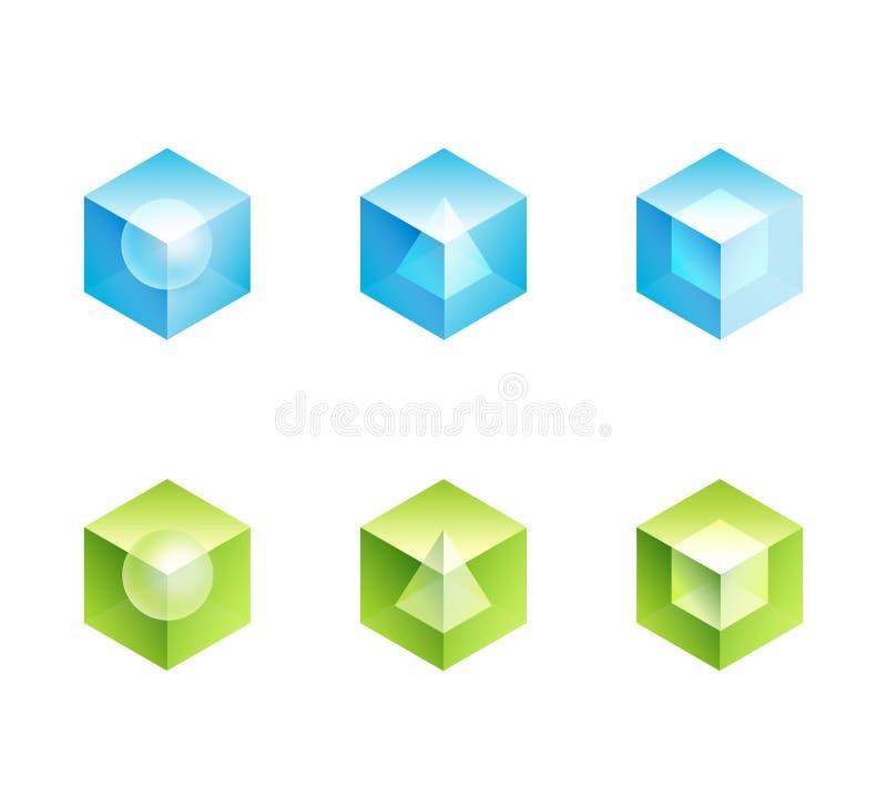 Conjunto abstracto del logotipo del asunto. dimensiones de una variable de los iconos del cubo ilustración del vector