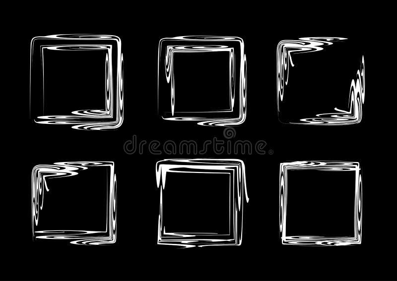 Conjunto abstracto del marco Marcos cuadrados dibujados mano ilustración del vector