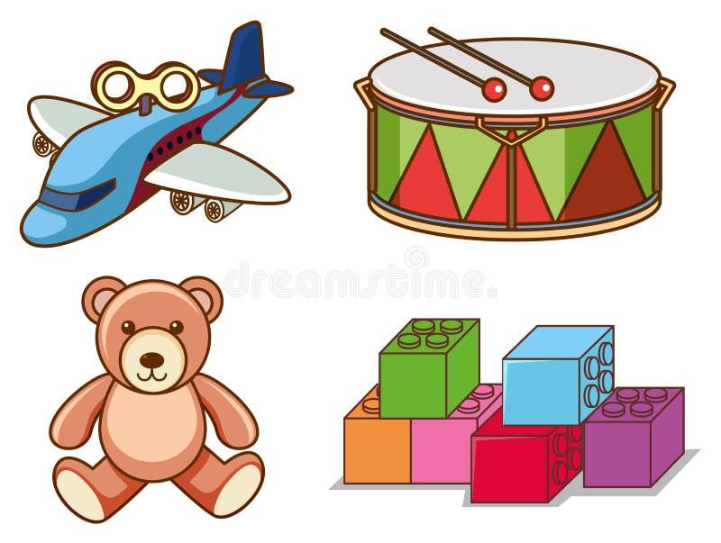 Conjunto aislado de muchos juguetes ilustración del vector