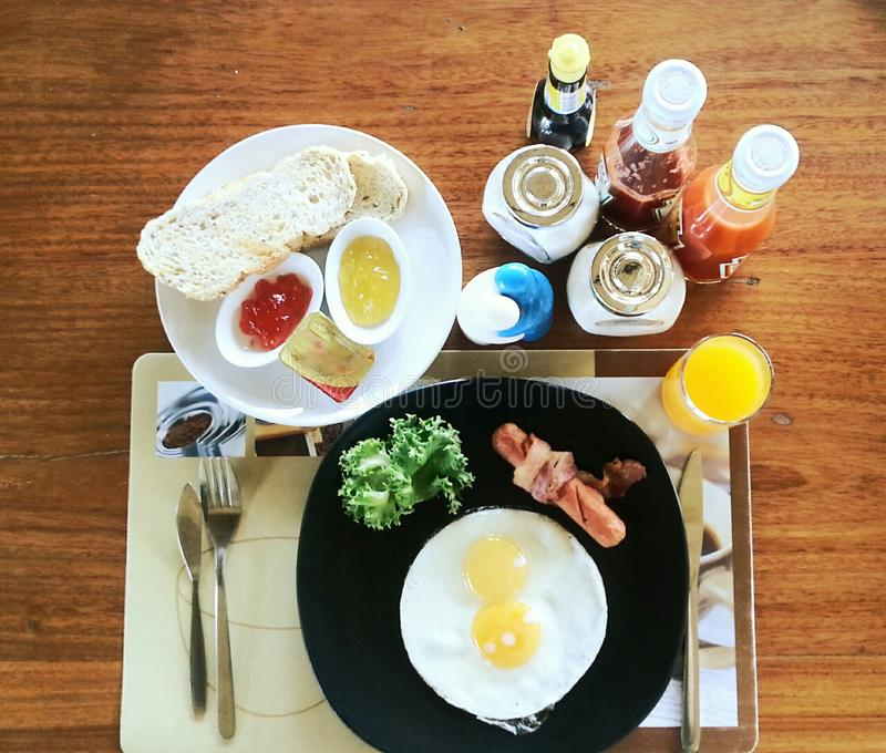Conjunto americano del desayuno imagenes de archivo