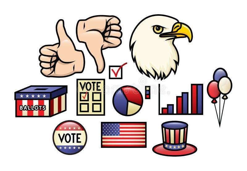 Conjunto americano del icono ilustración del vector