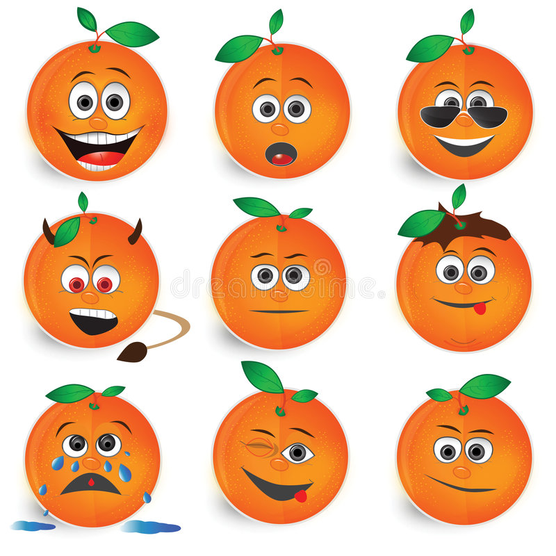 Conjunto anaranjado del icono del vector de los smiley libre illustration