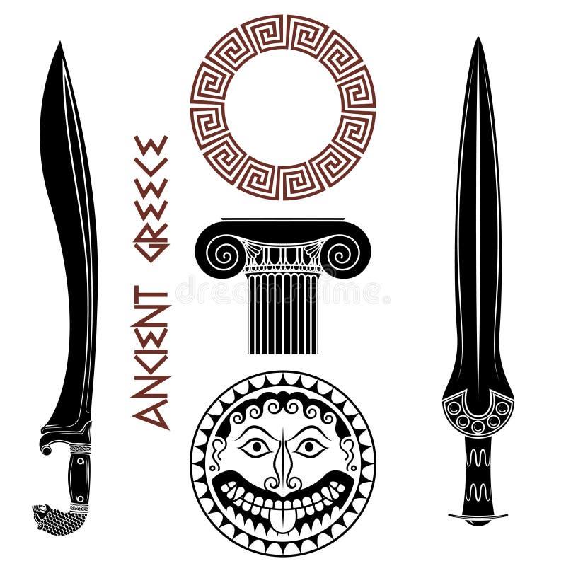 Conjunto antiguo de Grecia Escudo con la cabeza de Gorgon Medusa, las espadas del griego clásico, la columna griega, y el meandro ilustración del vector