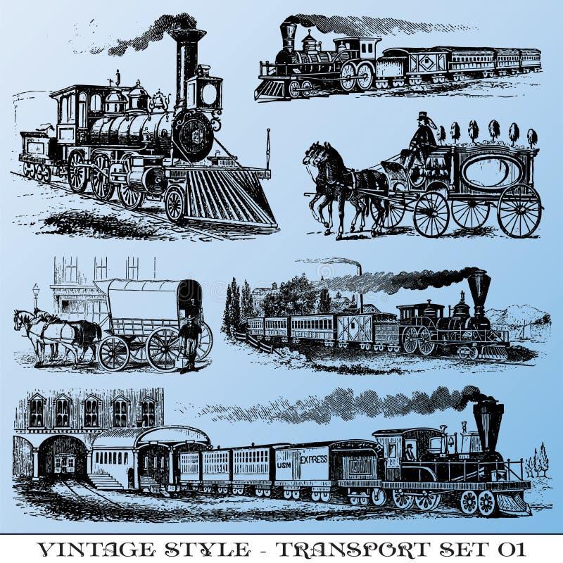 Conjunto antiguo del transporte ilustración del vector