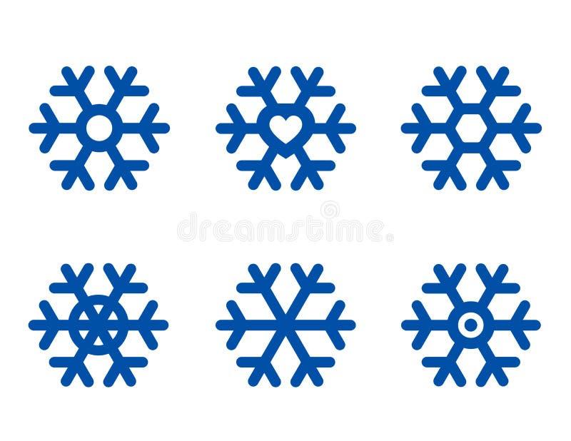 Conjunto azul del copo de nieve stock de ilustración