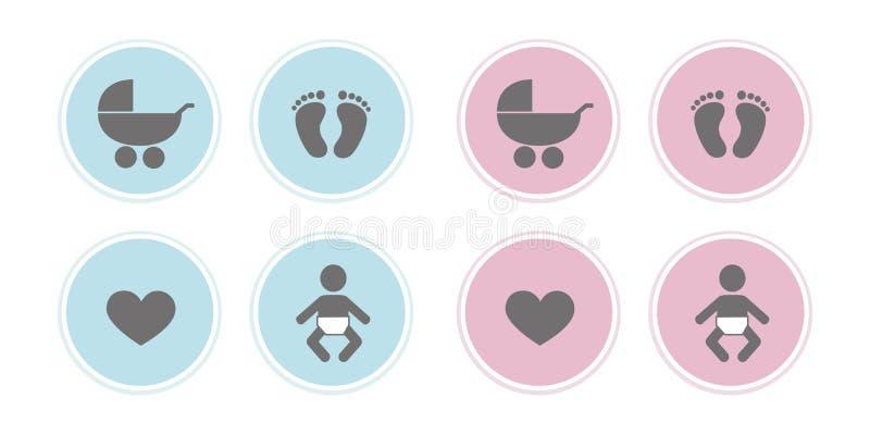 Conjunto azul e rosa de ícones de bebê pés pegado coração e carrinho ilustração stock
