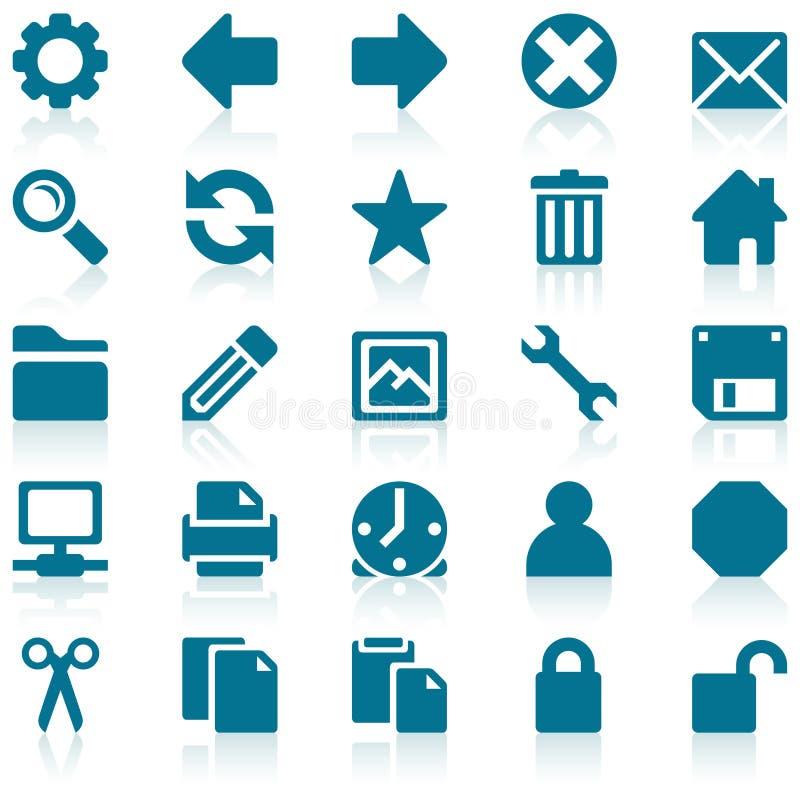 Conjunto azul simple del icono del Web ilustración del vector