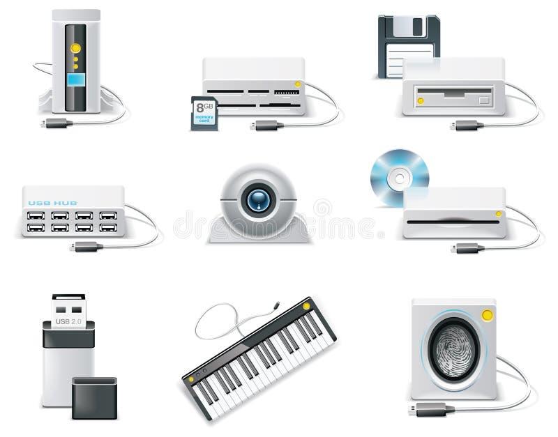 Conjunto blanco del icono del ordenador del vector. Dispositivo del USB de la parte 3. stock de ilustración