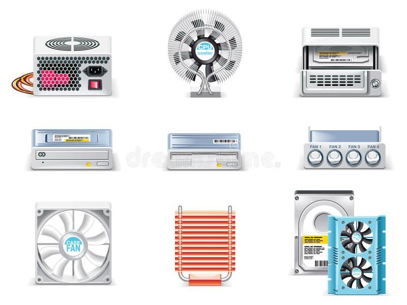 Conjunto blanco del icono del ordenador del vector. Parte 5 ilustración del vector