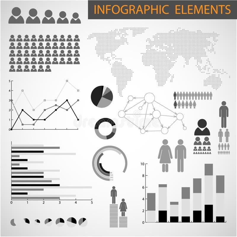 Conjunto blanco y negro de los elementos de Infographic stock de ilustración