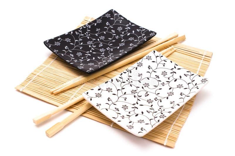 Conjunto blanco y negro del sushi imagenes de archivo