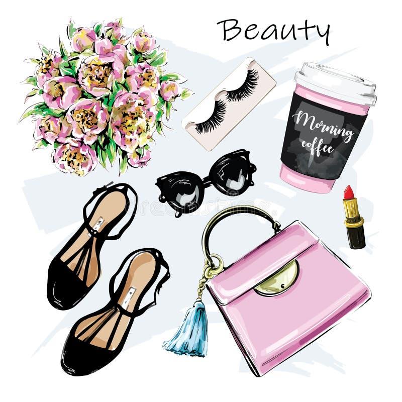 Conjunto bonito desenhado à mão com cosmética, acessórios e xícara de café Saco, batom, falsa pestana, óculos escuros e flores, s ilustração stock