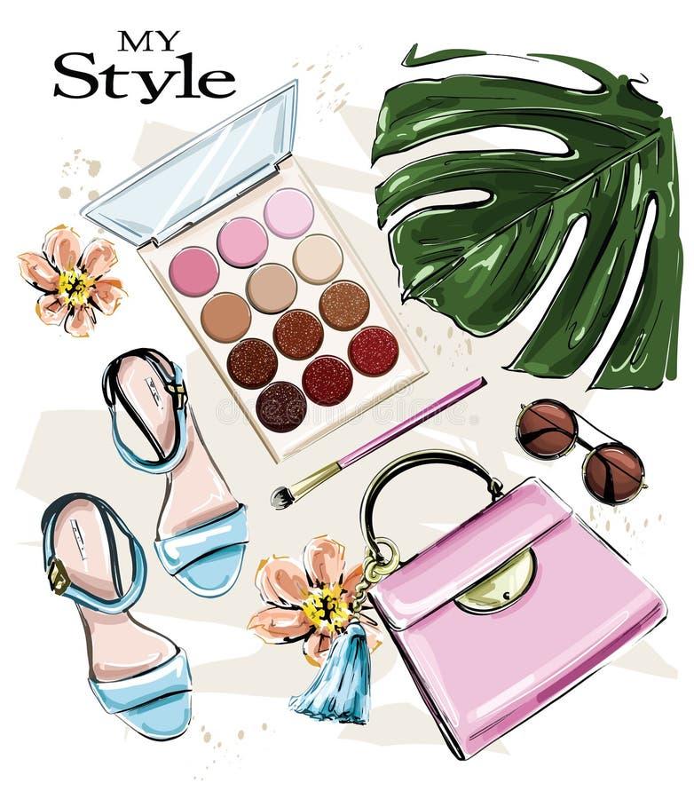 Conjunto bonito desenhado à mão com cosméticos e acessórios femininos Pincéis, óculos de sol, pincel de maquilhagem, saco, folha  ilustração royalty free