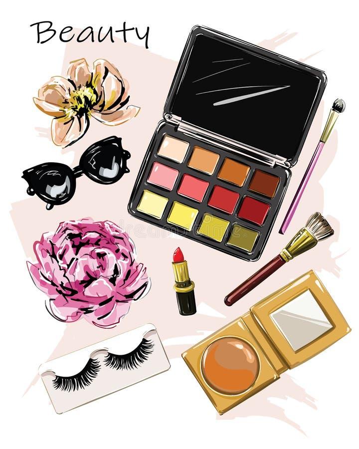 Conjunto bonito desenhado à mão com cosméticos Paletas de sombra ocular, batom, pincéis, falsas lascas, óculos de sol e flores ilustração royalty free
