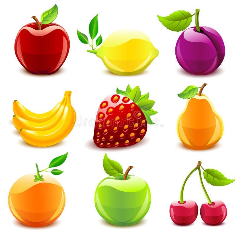 Conjunto brillante de la fruta stock de ilustración