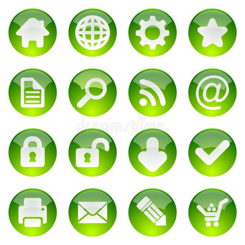 Conjunto brillante verde del icono ilustración del vector