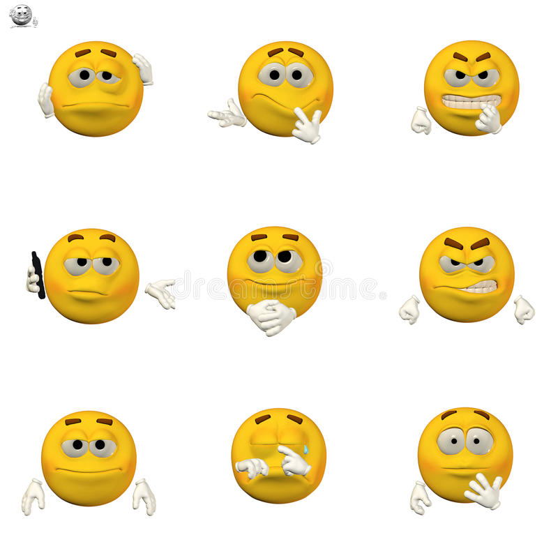 Conjunto cómico del emoticon ilustración del vector