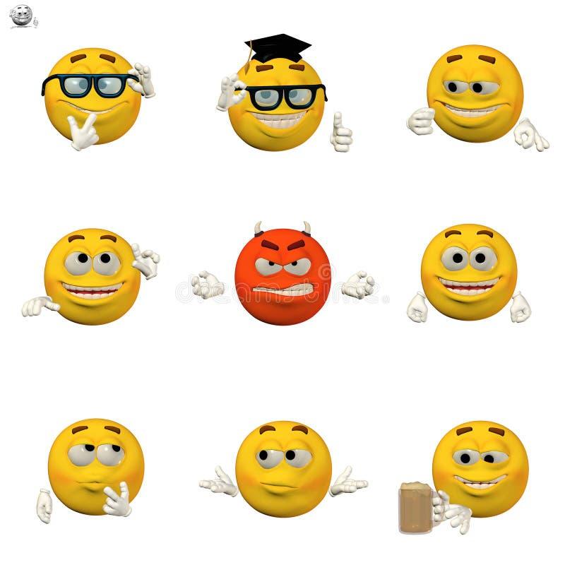 Conjunto cómico del emoticon stock de ilustración