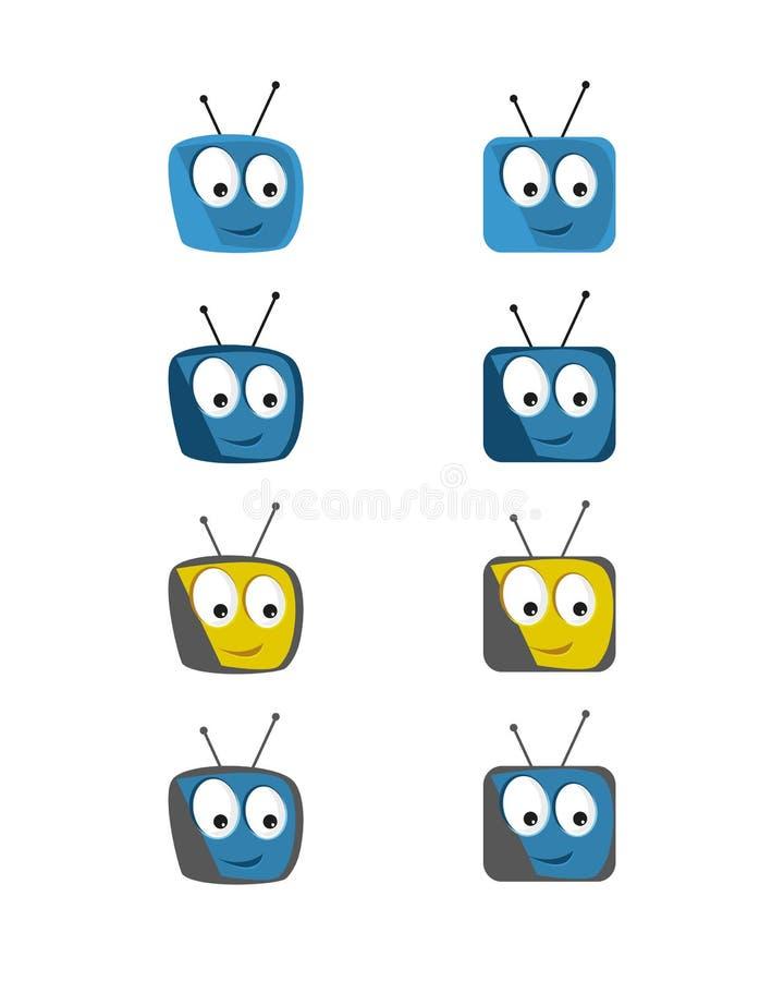 Conjunto cómico del icono de la TV stock de ilustración