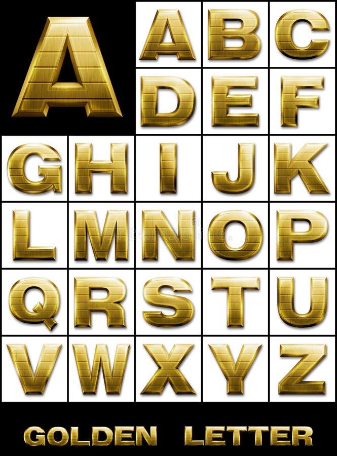 CONJUNTO, cartas alfabéticas en metal del oro libre illustration
