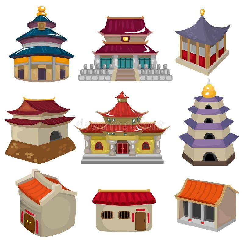 Conjunto chino del icono de la casa de la historieta libre illustration