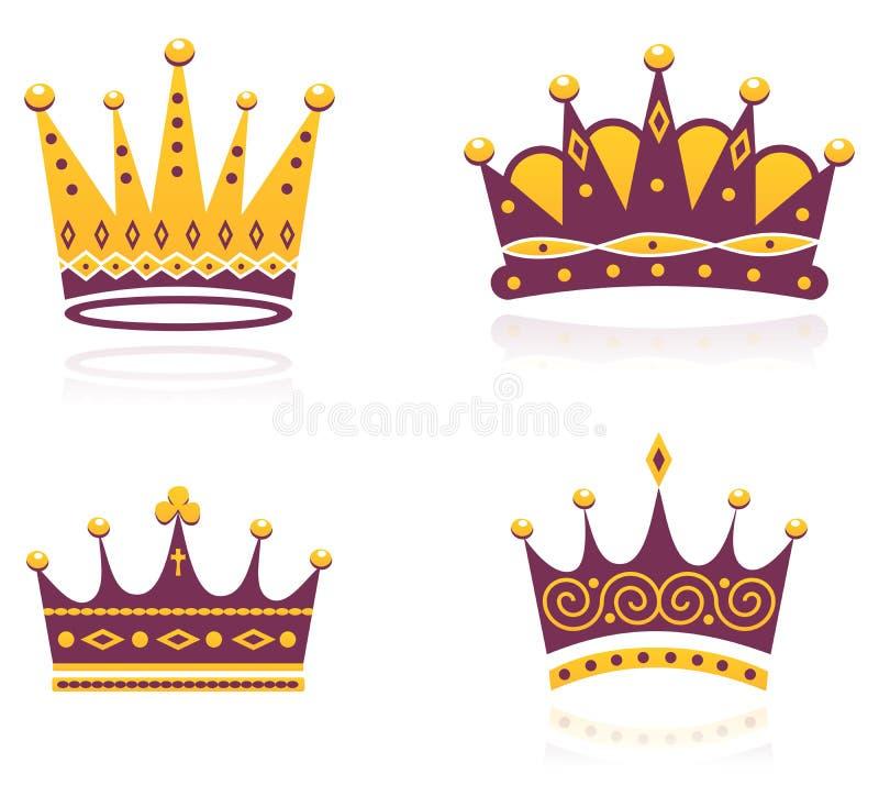 Conjunto coloreado de coronas libre illustration