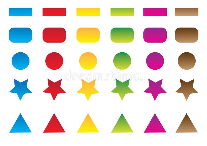 Conjunto coloreado del botón stock de ilustración