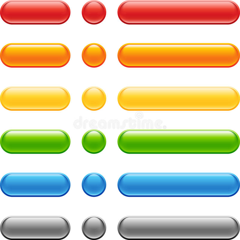 Conjunto coloreado del botón del Web ilustración del vector