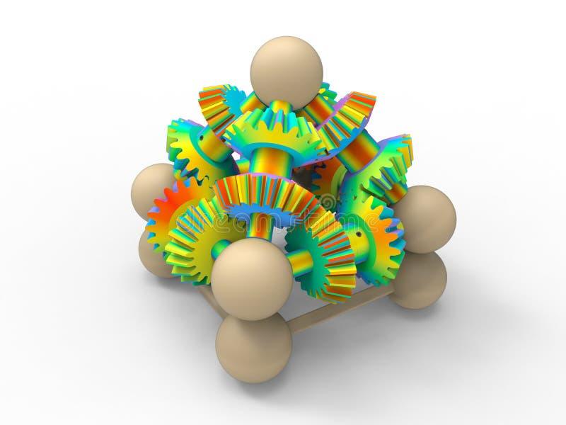 Conjunto colorido arco-íris da engrenagem ilustração stock